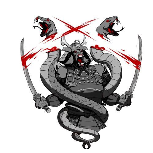 Samurai Gorila vs Snakes design