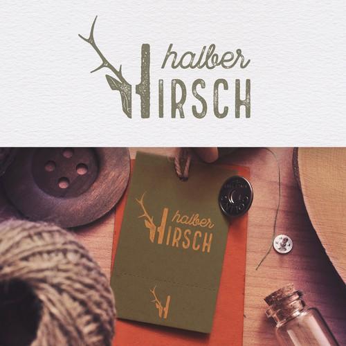 """Logo design for the german fashion label """"halber HIRSCH"""" – """"half a DEER"""""""