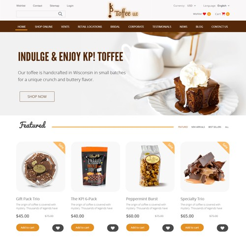 eCommerce website for Coffee products