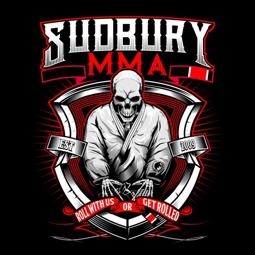 Skull Brazilian Jiu-jitsu  martial arts athlete Illustration Designs For SUDBURY MMA T_SHIRT