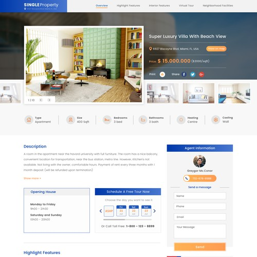 Listing page for Realestate website