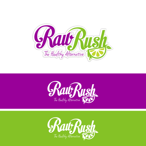 Create a fun + vibrant logo for 'RAW RUSH', a healthy smoothie & dessert bar.