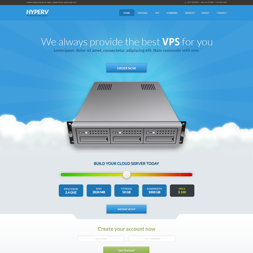 Create a award winning landing page for VPS Seller