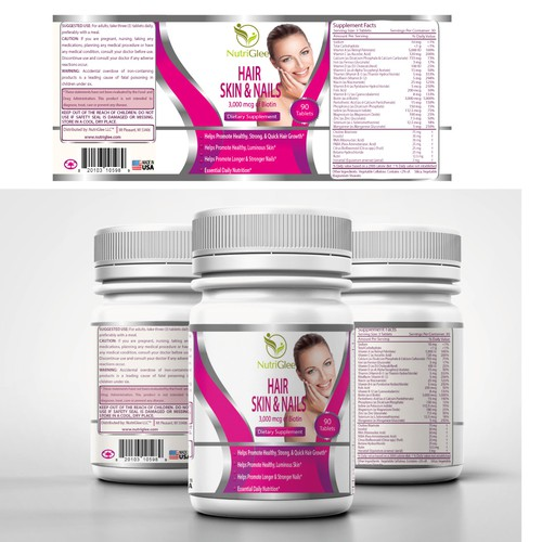 Create a natural and attractive looking label design for our supplement bottles