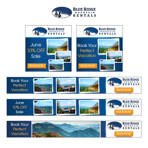 Banner Ad Design - Create Gif banners for Mountain Vacation Rental Agency