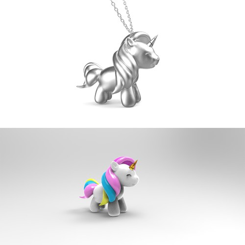 Design a cute 3D UNICORN keychain for women