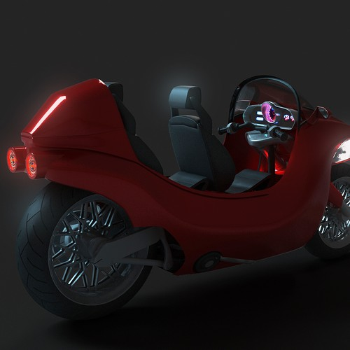 2 seater Cabin Motor-bike concept design (drawing requested but CAD welcome too)