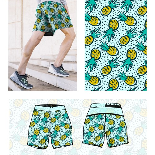 shorts with pineapple pattern