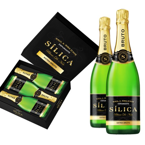 Sparkling wine product label and case design