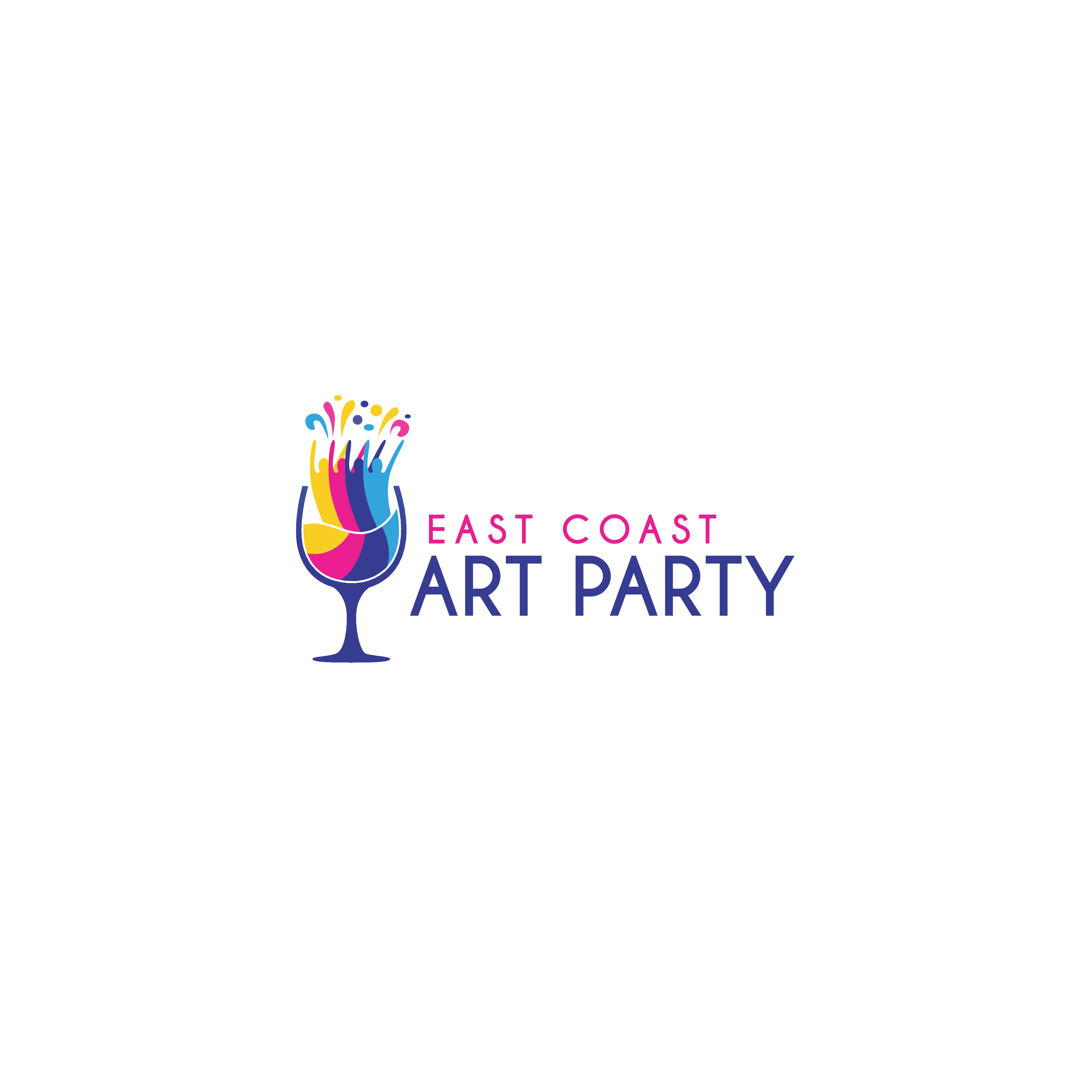 Logo for 'East Coast Art Party' - Represents Art, drinking, paint, fun!