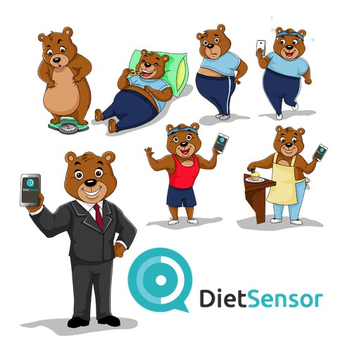 Bear Character Design for Diet Sensor
