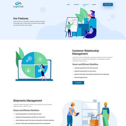 LogistaaS SaaS solution Service full website re-design.