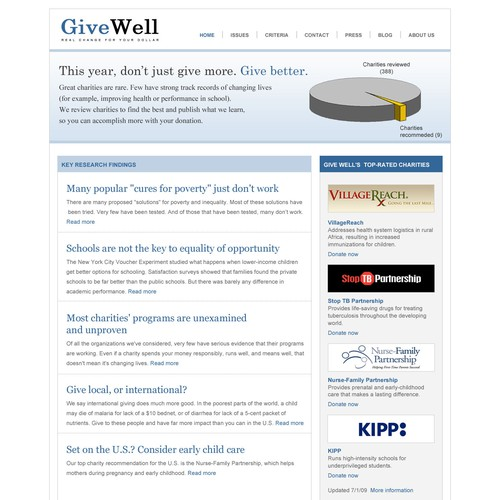 GiveWell - charity review site needs redesign