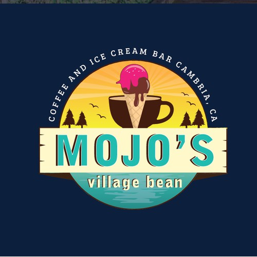 Logo for Ice Cream and Coffee shop on the California Coast