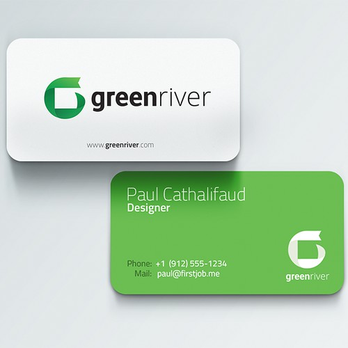 logo and business card for green river trading company