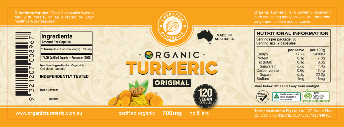 Therapeia Australia Turmeric ORIGINAL product label