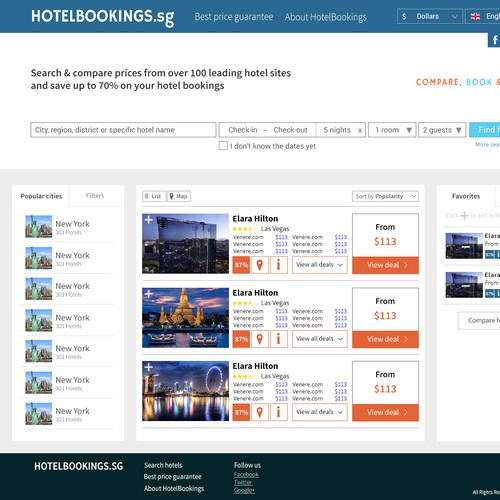 Like simplicity? Create a clean, modern hotel booking front page and logo