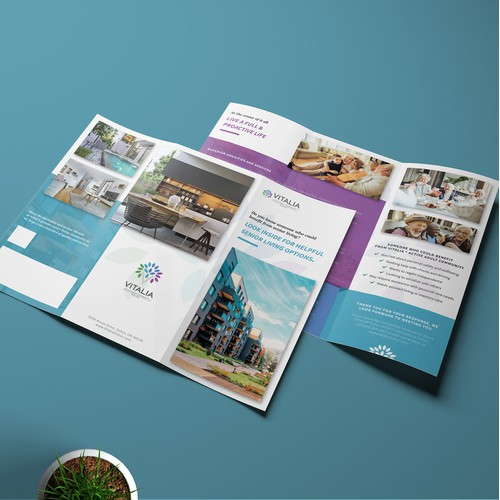 A clean layout for luxury senior living brochure.