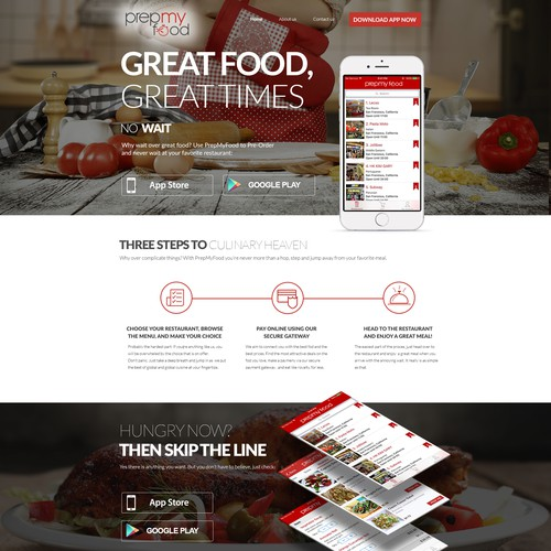 "Landing Page for ""PrepMyFood"""