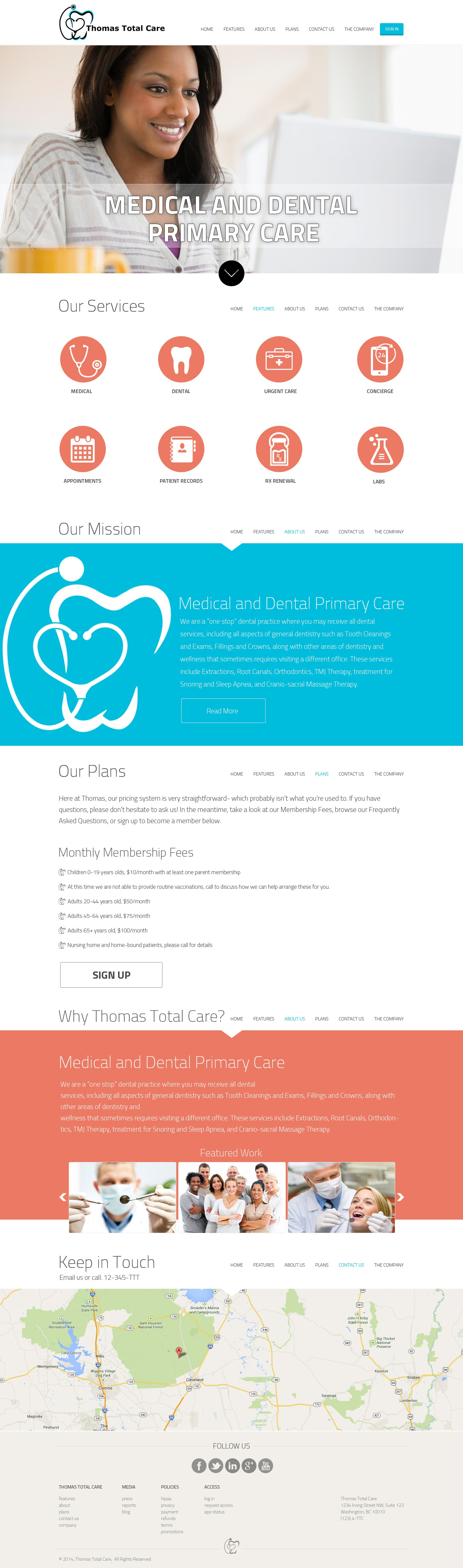 Healthcare innovation begins with you! Create a website for a combined medical and dental office.