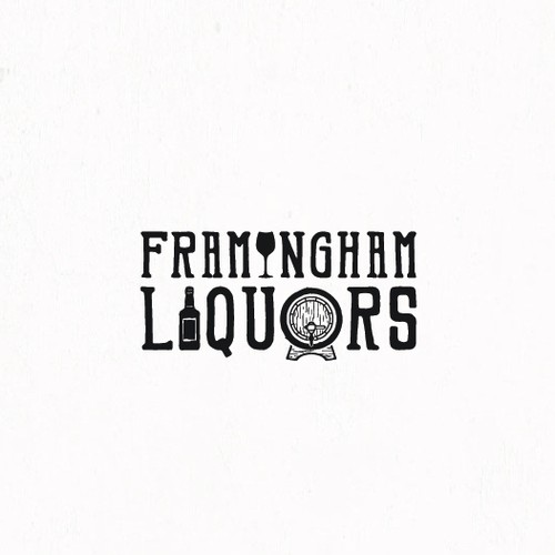 Logo for a liquor store with integrated graphics