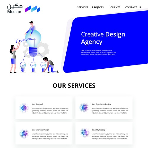 Landing page design of creative agency