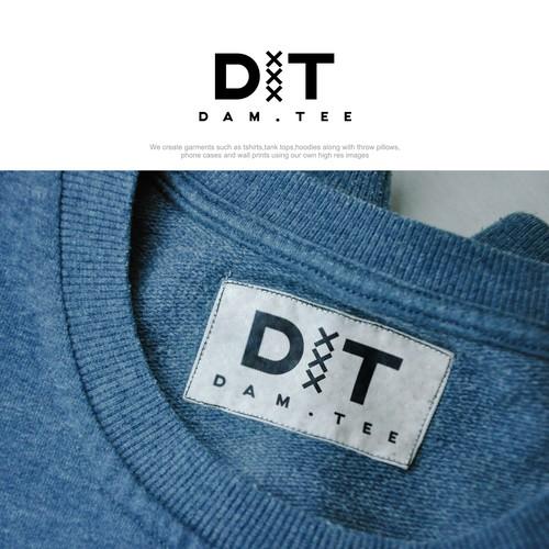 masculine logo for dam.tee