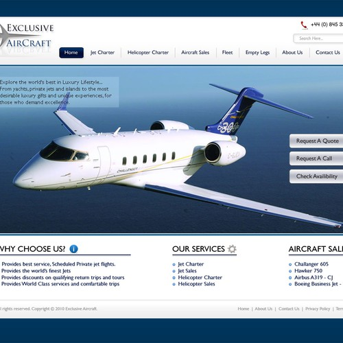 Design Exclusive Private Jet Website