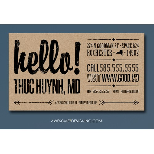 rustic vintage business card for a not so typical doctor's office