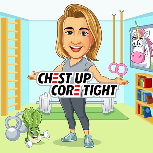 CHEST UP CORE TIGHT design logo