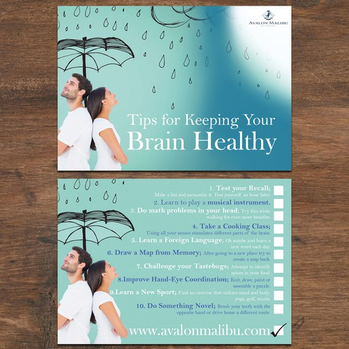 Bright postcard for promoting good mental health