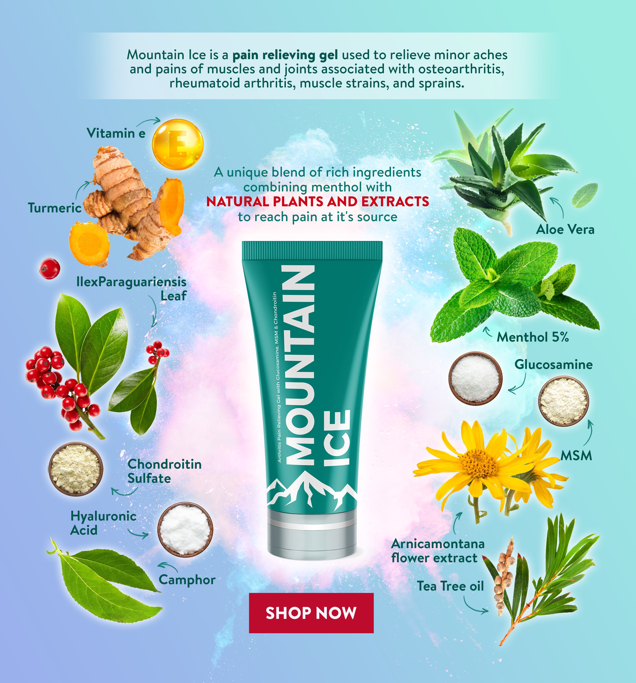 Create an Ad for my product Mountain Ice Showing colorful ingredients in the formula