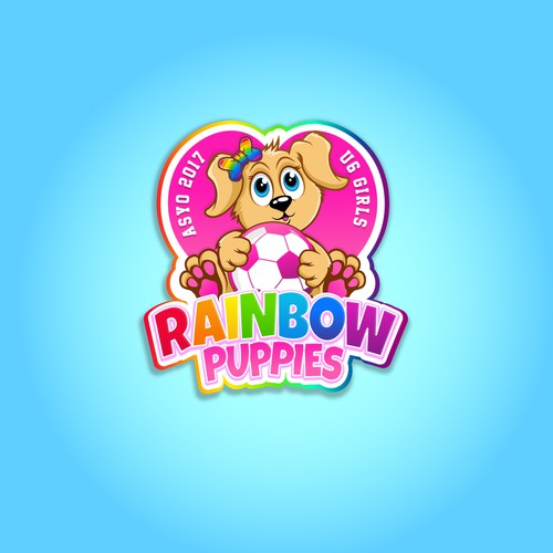Rainbow puppies soccer logo