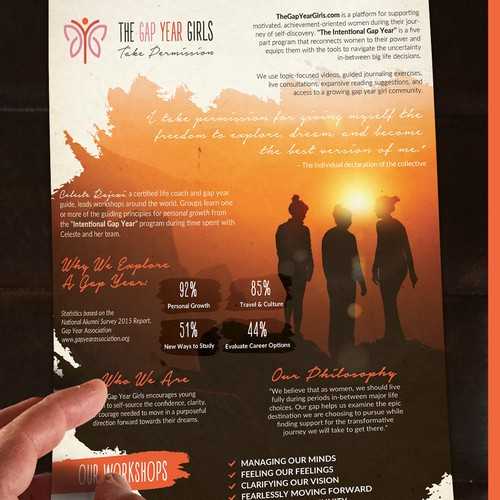 Flyer for The Gap Year Girls