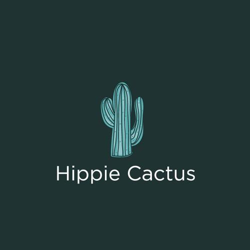 fun logo for hippie cactus