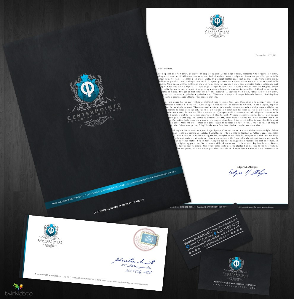 Stationary design for business card, cover letter, envelope, quickbooks invoice for CenterPointe Learning Institute