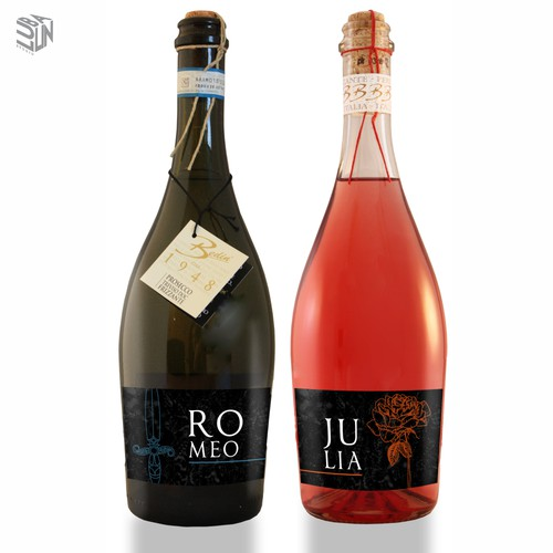 Labels - Romeo and Julia for sparkling wine