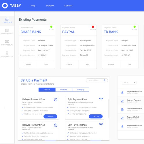 UI for payment solutions dashboard