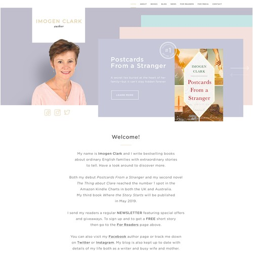 Clean Minimalist Design for Author Imogen Clark