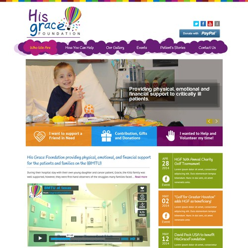 Create a whimsical, professional homepage for nonprofit serving critically ill children