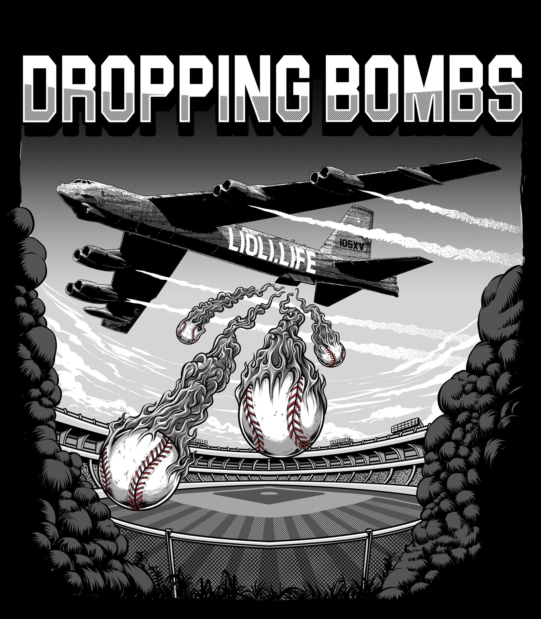 Baseball Theme T Shirt Graphic of B-52 Bomber Airplane dropping Baseballs as Bombs
