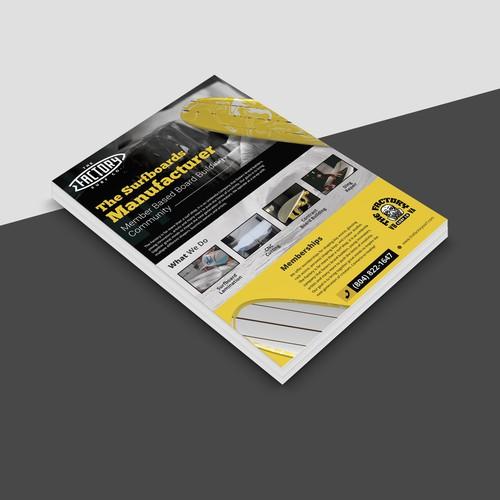 Marketing Flyer Design for Surfboard Company