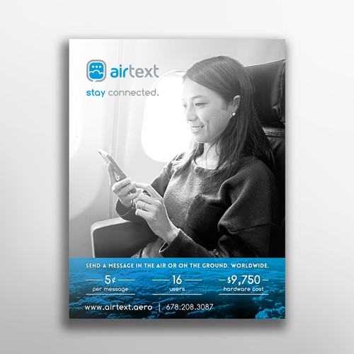 One page ad for aircraft text messaging