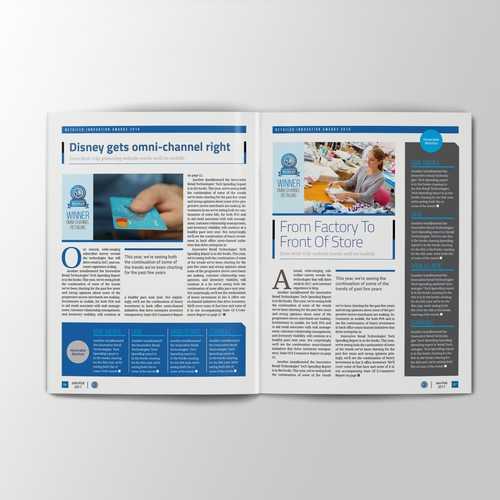 Special article layout for magazine