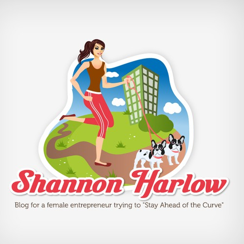 Fun character logo of woman walking two dogs! (for a blog)