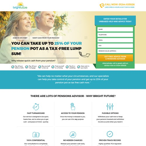 Landing page for financial lending