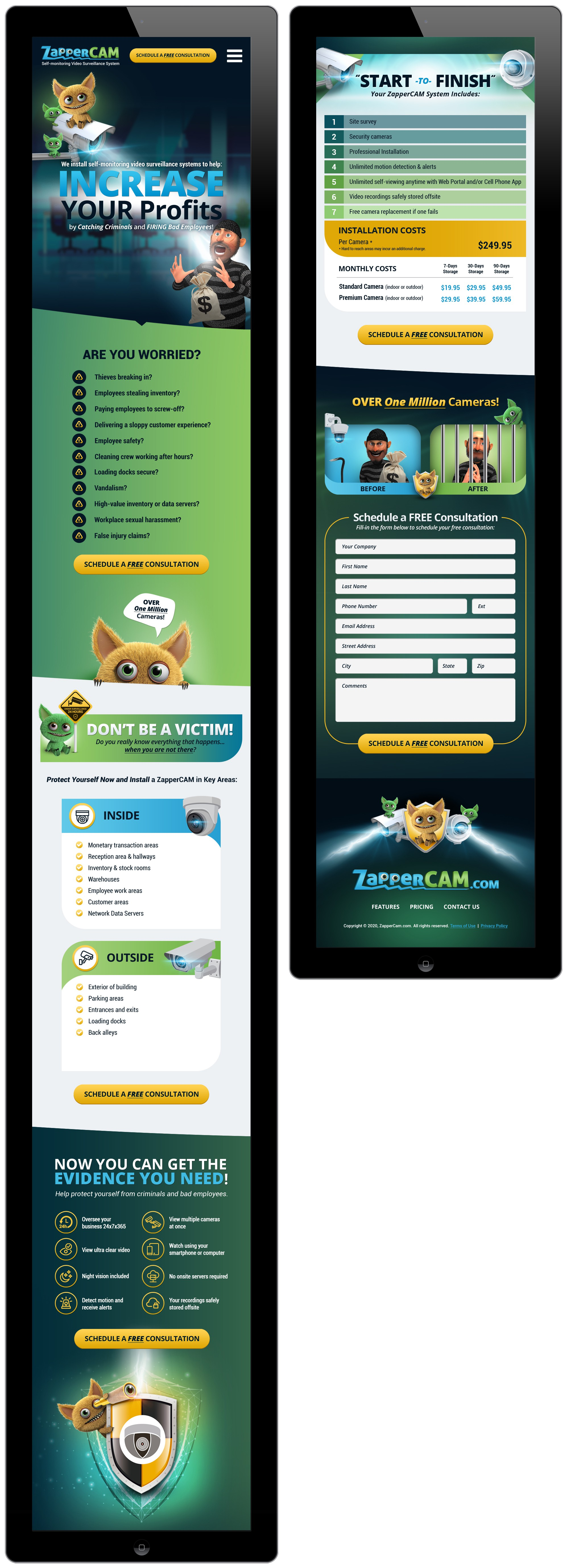 ZapperCAM website - tablet and mobile phone designs