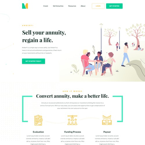 Landing page design for an investment company
