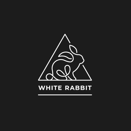 Monoline Rabbit Figure Logo Design