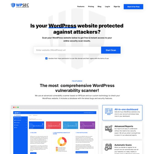 Landing page for Cyber Security Scanner